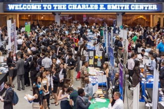 Semiannual event enables students to meet recruiters and brush up job hunting skills.