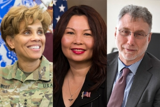 Lt. Gen. Nadja West, U.S. Sen. Tammy Duckworth and Washington Post Executive Editor Marty Baron, who will be recognized