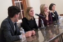Tim Miller (l), Gabby Morrongiello, Emily Jashinsky and Christine James, who moderated the Alumni Career Success panel