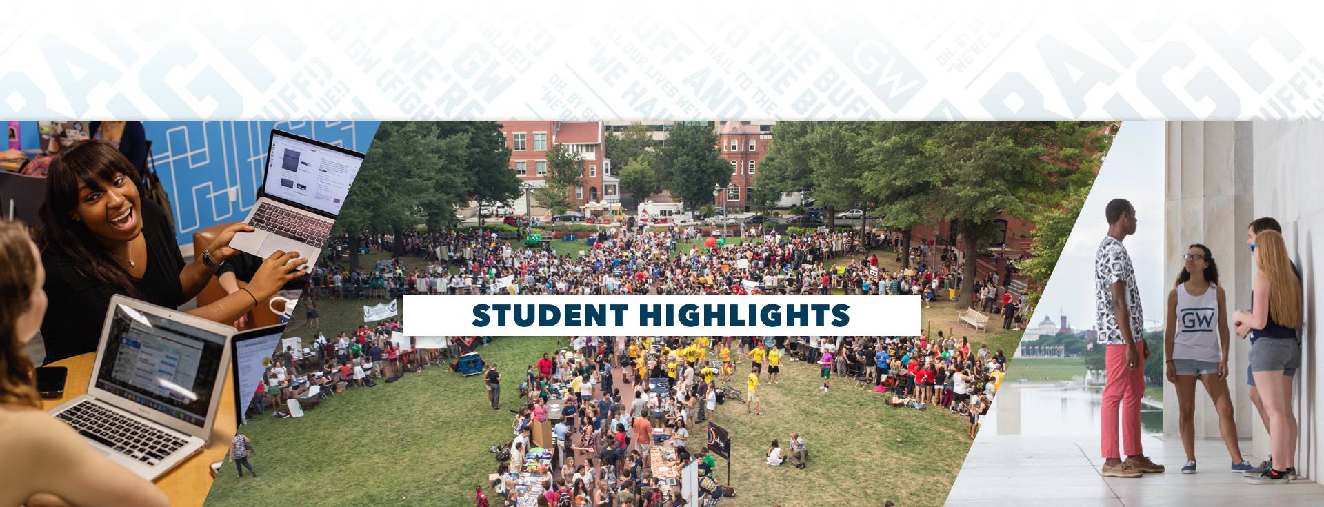 Multiple images of students on campus engaging